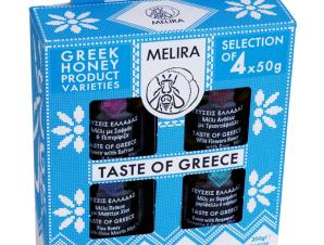 """Σετ δώρου «Taste of Greece» με μέλι Ευβοίας """"Melira"""" 4x50g>"""