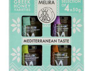 """Σετ δώρου «Mediterranean Taste» με μέλι Εύβοιας """"Melira"""" 4x50g>"""