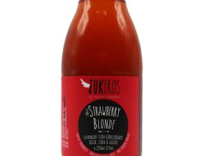"""Χειροποίητη λεμονάδα με αγαύη, χυμό φράουλας, βασιλικό & σπόρους τσία, χωρίς ζάχαρη & γλουτένη, «Strawberry Blonde» """"Jukeros"""" 250ml>"""