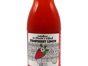 """Χειροποίητη λεμονάδα με φράουλα & τζίντζερ, χωρίς ζάχαρη & γλουτένη, «Strawberry Lemon» """"Jukeros"""" 250ml>"""