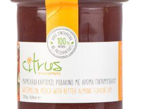 """Χειροποίητη μαρμελάδα καρπούζι & ροδάκινο με άρωμα πικραμύγδαλο, Χίου """"Citrus"""" 250g>"""