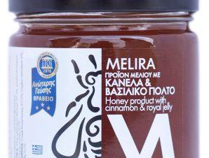 """Μέλι με κανέλλα & βασιλικό πολτό, Εύβοιας """"Melira"""" 280g>"""